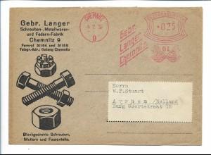 Y20126/ Brief Chemnitz Gebr. Langer Metallwaren-Fabrik 1939