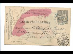 Y20120/ Service Telegraphique Carte-Telegramme Paris 1884 Ganzsache