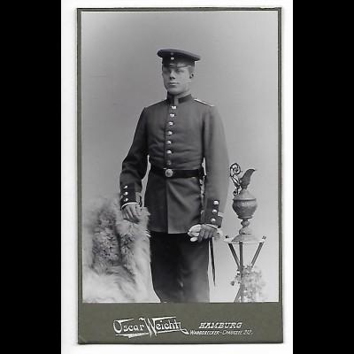 Y20504/ CDV Foto Soldat Militär Atelier Oscar Weicht, Hamburg 1902