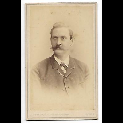 Y20573/ CDV Foto Mann mit Schnurrbart Atelier J. Engelmann, Posen ca.1895