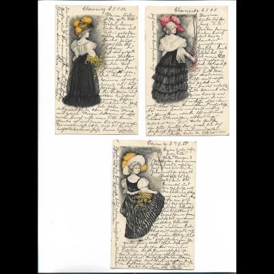 Y20624/ 3 x AK junge Frau Rokoko Litho AK 1902/05
