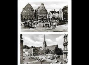 Y20769/ 2 x AK Flensburg Südermarkt Straßenbahn Autos 50er Jahre