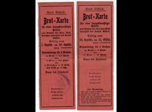 Y629/ 2 x Brotkarte Kreis Alsfeld 1918