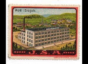 Y851/ Aue Erzgebirge J.S.A. Wäsche-Fabrik alte Litho Reklamemarke