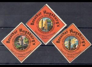 Y853/ 3 x Reklamemarke Besuchet Augsburg`s Sehenswürdigkeiten ca.1910