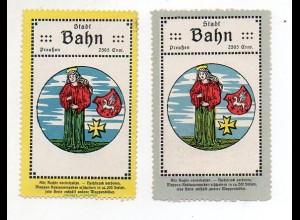 Y858/ 2 x Reklamemarke Stadt Bahn ca.1920 Wappen Polen
