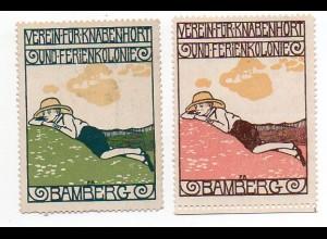 Y860/ 2 x Reklamemarke Verein für Knabenhorst u. Ferienkolonie Bamberg ca.1912