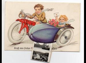 N3135-3522/ Karlshafen Litho AK mit Leporello Motorrad mit Beiwagen Kinder
