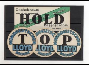 Y2063/ 9 Kofferaufkleber Norddeutscher Lloyd Bremen ca.1925