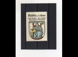 Y2109/ Reklamemarke Brücken a.d. Helme Prov. Sachsen Wappen ca.1930 Kaffee Hag