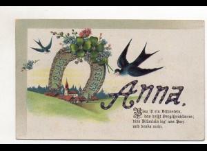 """T683/ Namen AK """"Anna"""" Schwalben mit Glimmer"""