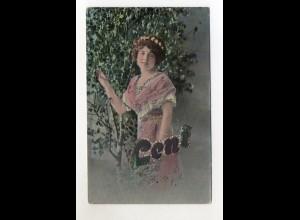 """T685/ Namen AK """"Leni"""" junge Frau AK 1914 mit Glimmer"""