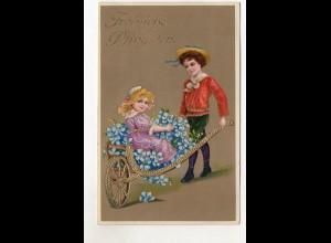 T692/ Pfingsten Litho Glanz AK Kinder mit Schubkarre 1916
