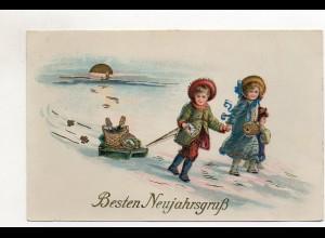 T694/ Neujahr Litho Glanz Kinder mit Schlitten AK 1922