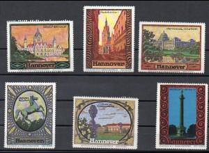 Y3917/ 6 Reklamemarken Vignetten Hannover ca.1925 J.G. Huch, Braunschweig