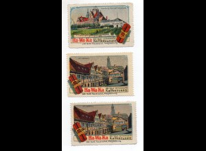 Y3926/ 3 x Reklamemarke Hamburg Ha-Wa-Ka Kaffeezusatz J.G. Hauswaldt ca.1912