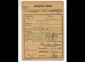 Y4579/ Arbeits-Pass Arbeitsamt Hamburg 29.8.1945