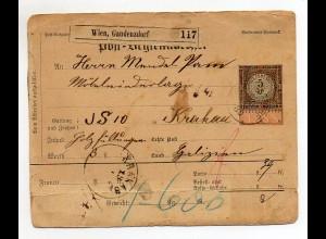 C2401/ Post-Begleitadresse ( Paketkarte ) Wien Gaudenzdorf 1889