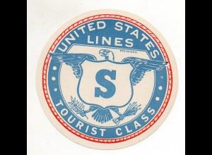 DP200/ Alter Kofferaufkleber United States Lines Tourist Class ca. 1935