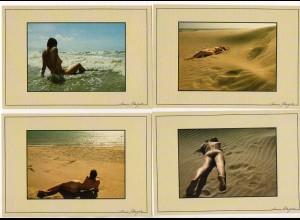 DP186/ 6 x AK Erotik Frau nackt am Strand ca.1970