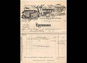 C2369/ Rechnung Mulzer & Schöffel, Nürnberg Haar- und Borst-Pinsel 1912