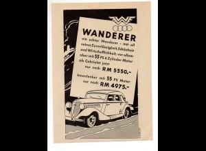 C2387/ Original Werbung Anzeige Wanderer Auto Union Automobil ca.1938