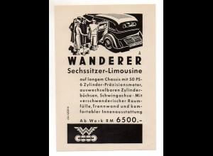 C2384/ Original Werbung Anzeige Wanderer Auto-Union 1935 Automobil