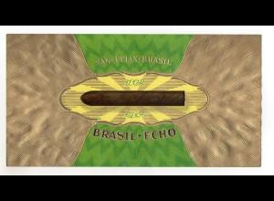 C2406/ Alter Zigarrenkistenaufkleber San-Felix-Brasil Brasil-Ecko Präge,Golddr.