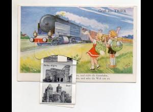 Y4596/ Trier AK mit Leporello Eisenbahn, Kinder mit Rucksack ca.1960