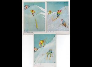 Y4585/ 3 x AK Skifahren Humor Union Künstlerkarten ca.1960