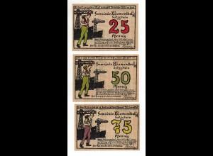 Y4749/ 3 x Notgeldschein Blumenthal i. H. 25, 50 und 75 Pfennig 1921