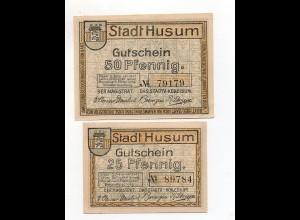 Y4785/ 2 x Notgeld Stadt Husum 25 und 50 Pfennig