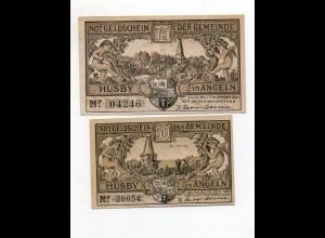 Y4784/ 2 x Notgeld Gemeinde Husby 50 + 75 Pfennig 1921