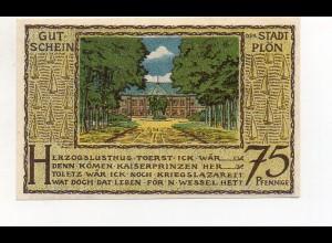 Y4777/ 1 x Notgeld Plön 75 Pfennig 1921