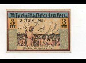 Y4774/ 1 x Notgeld Klodnitz Oderhafen 3 Mark 1921 Schlesien Polen