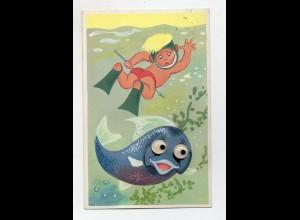 T4045/ Plastik Augen AK Fisch und Kind taucht Tauchen 1960