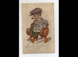 T4036/ Plastik Augen - Junge mit Koffer und Hund Reisen AK 1924