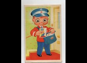 T4049/ Plastik Augen AK Junge als Postbote Briefträger ca.1960