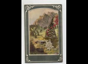 Y14284/ Echtes Edelweiß AK 1930 Jugendstil-Umrandung