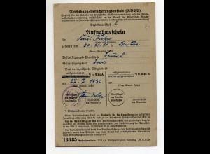 Y6296/ Aufnahmeschein Reichsbahn-Versicherungsanstalt 1936
