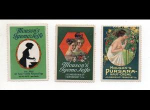 Y6071/ 3 x Reklamemarke Mouson`s Igemo-Seife Frankfurt M. ca.1910