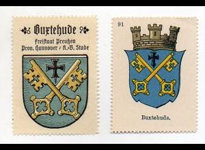 Y6087/ 2 x Reklamemarke Buxtehude Wappen ca.1920