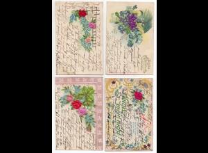 Y6370/ 4 x AK Blumen aus Seide Litho Prägedruck 1901-1909
