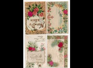 Y6371/ 4 x AK Blumen aus Seide Litho Prägedruck 1903-08