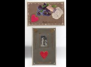 Y6382/ 2 x AK Duftende Grüße Herz aus Seide 1910/12