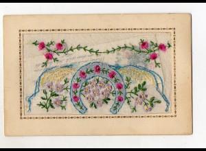 T5775/ Seidenstick AK Hufeisen, Blumen ca.1912