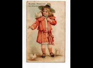 T5784/ In Seide gewebt AK Namenstag Kind mit Tauben ca.1905