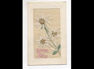 T5780/ Seidenstick AK Blumen Edelweiß 1913