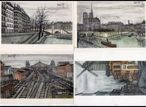 Y6555/ 4 x Künstler AK B. Buffet Paris 1955