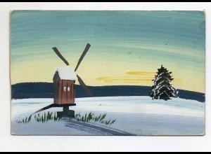 Y6515/ Handgemalte AK Windmühle Wintermotiv AK 1920
